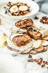 homemade granola bars with pumpkin, banana and pea…