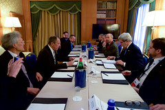 U.S. Secretary of State John Kerry sits across from Russian Foreign Minister Sergey Lavrov on December 2, 2016, at the Parco dei Principe Hotel in Rome, Italy, before a bilateral meeting on the sidelines of an an Italian-hosted multinational meeting focused on Mediterranean issues. [State Department photo/ Public Domain]