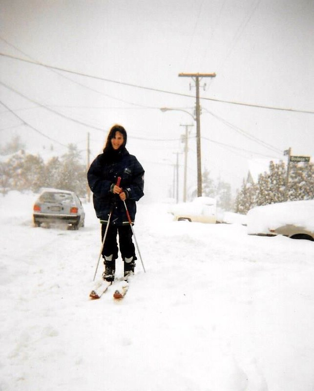 Evelyn Becker (nee Barefoot) getting around on skis. Photo Gail Abbott