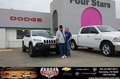 Congratulations to Gale and Mark Smith on your #Jeep #Cherokee purchase from Tracey Frerich at Four Stars Auto Ranch! #NewCar