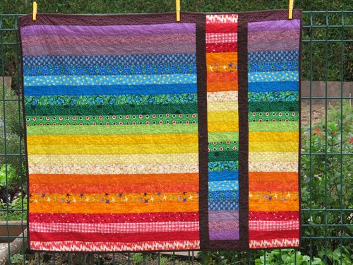 Rainbow Strip and Flip Baby Quilt