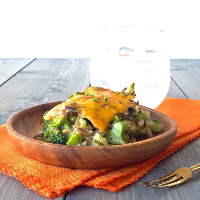 Broccoli cheddar wild rice bake