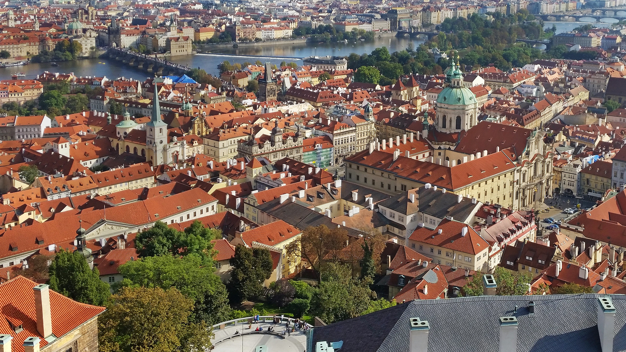 View towards Charles bridge in Prague, Czech Republic