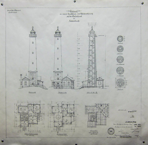 Plans of the lighthouse of Lüderitz, Namibia. Windhoek railway museum
