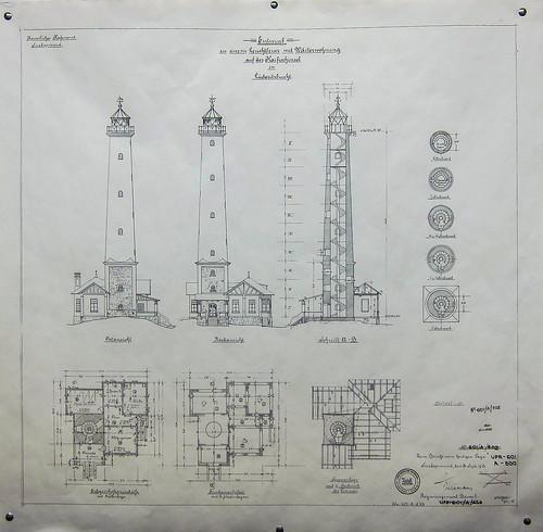 Plans of the lighthouse of Lüderitz, Namibia. Windhoek railway museum