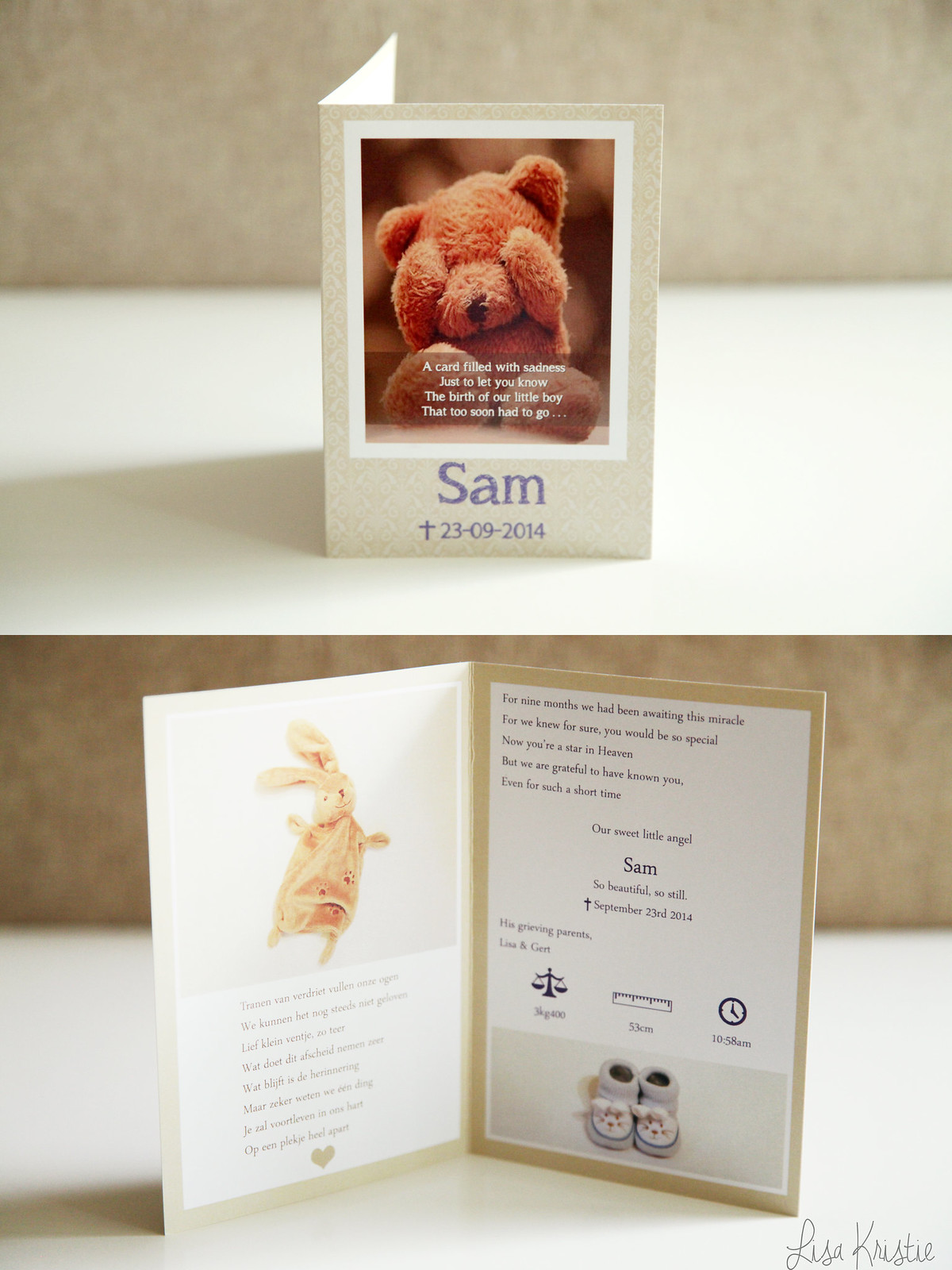 card announcement baby died passed away stillbirth birth sad crying teddy bear