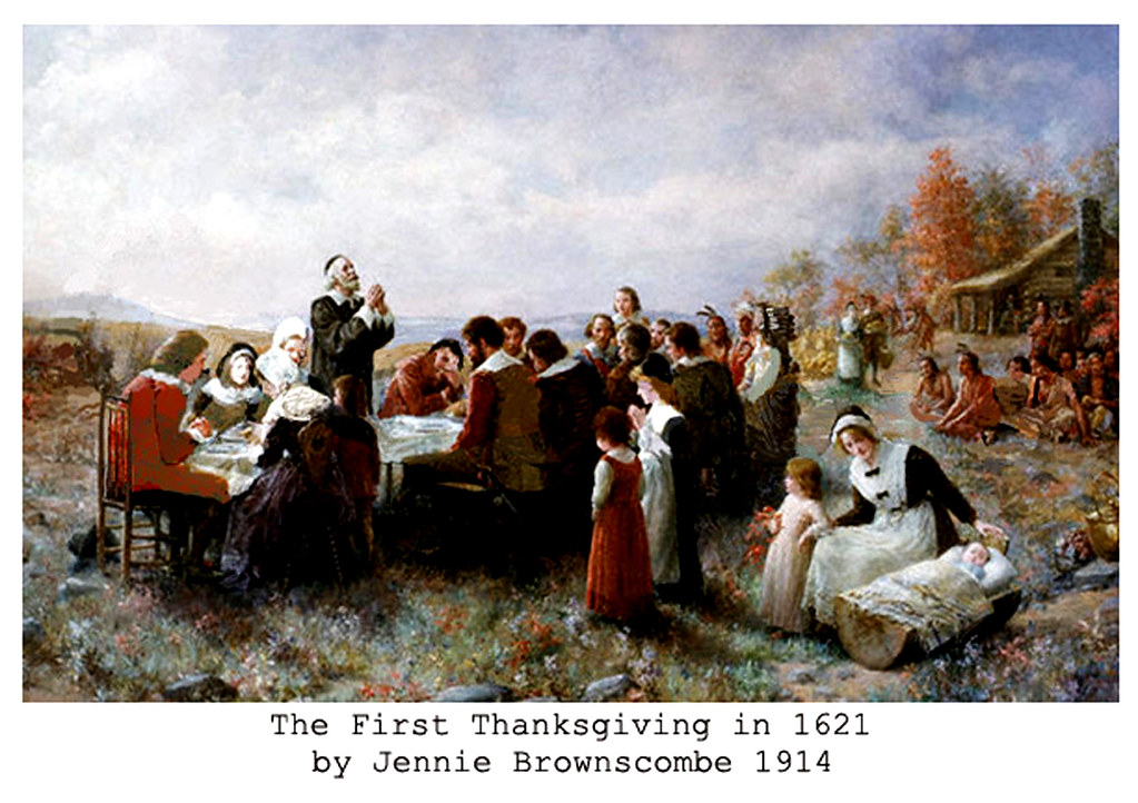 Pilgrims & Indians - Giving Thanks to God