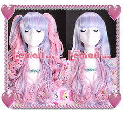 Power blue powder pink mix Curly Wig