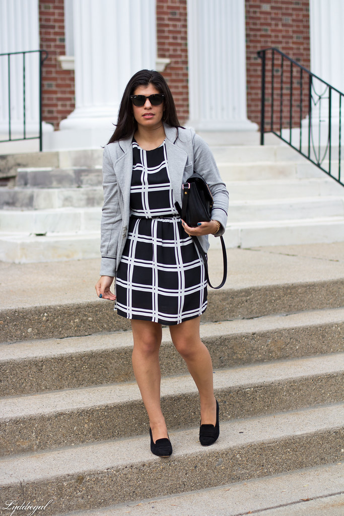 grid print dress, grey sweatshirt blazer.jpg