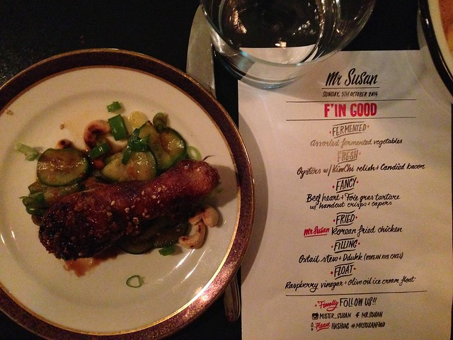 Mr Susan F'in Good Hidden Chef dinner for Stadt Land Food fest_ Korean fried chicken over cucumber salad with menu