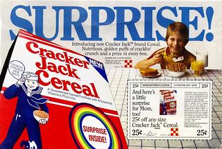 """Cracker Jack Cereal :: """"SURPRISE!"""" ; 25¢ off (( 1984 ))"""