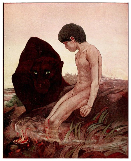 002a-Mowgli y Bhagheera-The jungle book-1913
