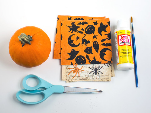 Paper Napkin Decoupaged Pumpkins