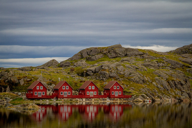 norway, houses, red, roofs