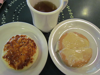 Marmite Crumpet and PB and Maple Butter Crumpet with herbal blend tea from The Crumpet Shop at Pike Place Market