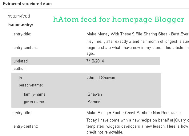 hAtom feed for Homepage in Blogger