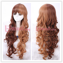 65cm long dark brown&light brown wavy cosplay wig CB60