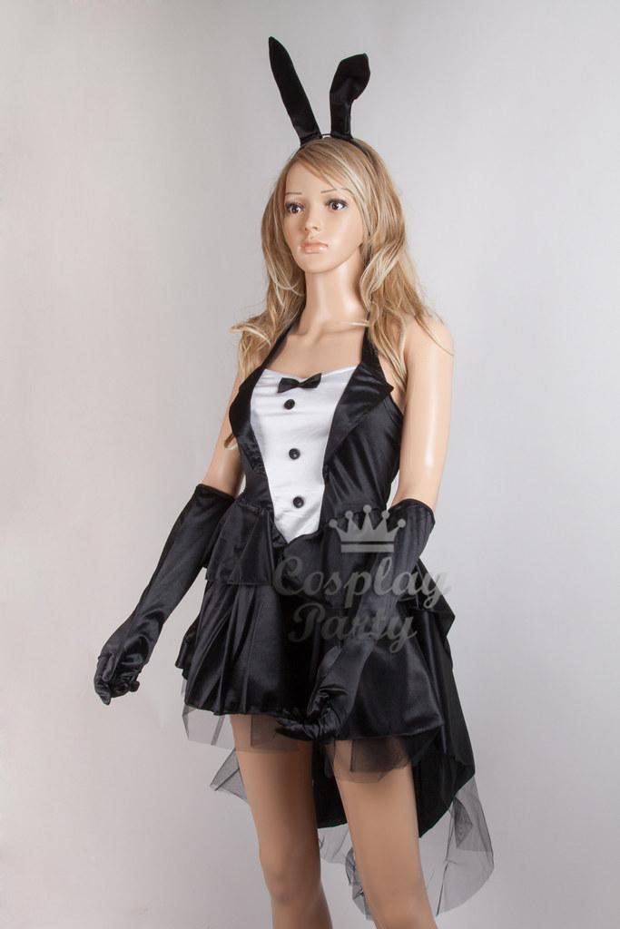 K51 Sexy Black Bunny Rabbit Fancy Tuxedo Tailcoat Dress -8550