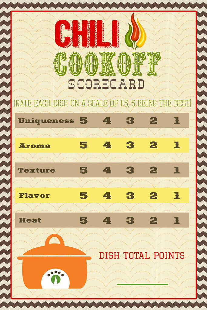 A Pocket full of LDS prints Chili Cook off Scorecard
