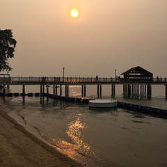 Hazy sunset today. at Changi Point Western Boardwalk (Kelong Walk)
