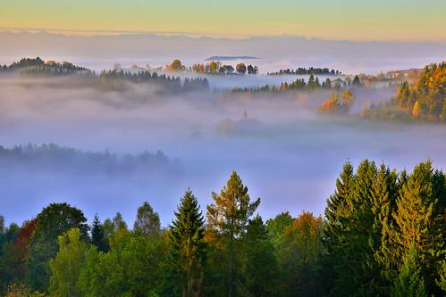 autumn fog hdr upperaustria mühlviertel
