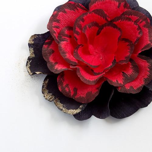 DIY Gothic Paper Rose Hair Clip