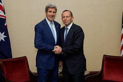 U.S. Secretary of State John Kerry and Australian Prime Minister Tony Abbott shake hands after addressing the media before a bilateral meeting following their attendance at the inauguration ceremonies for Indonesian President Joko Widodo in Jakarta, Indonesia, on October 20, 2014. [State Department photo/ Public Domain]