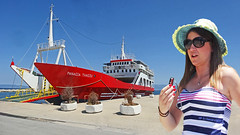 Macedonia , Aegean Sea,Thasos island, Prinos, red nailed camera woman & Virgin Mary red ferry, Greece
