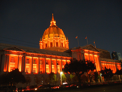 DSCN7863 - San Francisco City Hall in SF Giants' Orange Glow