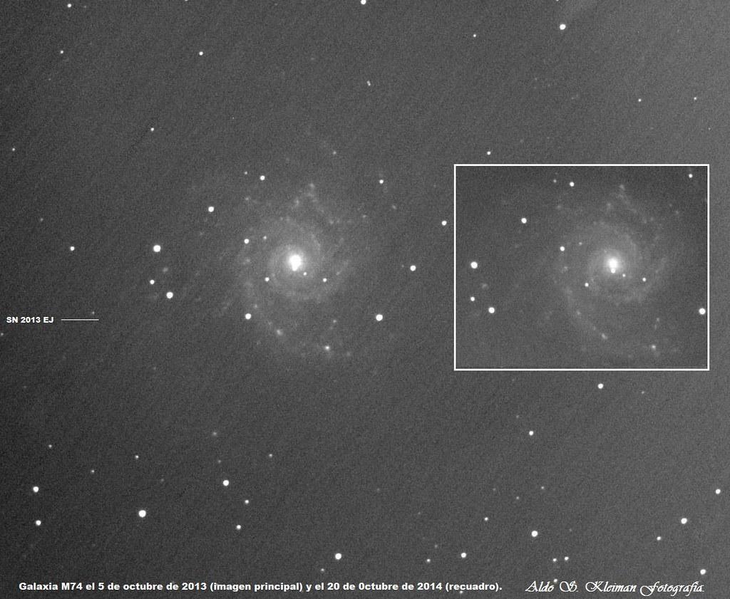 Galaxia M74 con y sin Supernova.