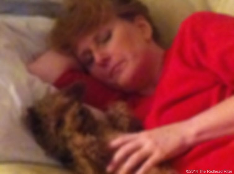 red pajamas sherry redhead riter  with bella red toy poodle