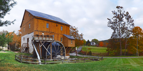 old autumn panorama color fall mill beautiful clouds landscape virginia us rainyday unitedstates historic fallfoliage va gristmill autumncolor 2014 workingmill visitorswelcome rockbridgecounty