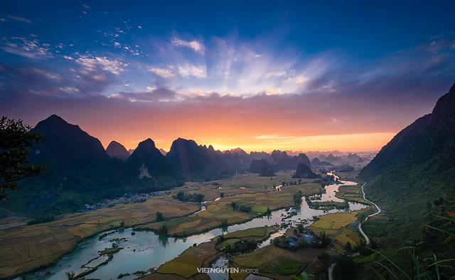 The morning light landscape view at Trung Khanh, Cao Bang