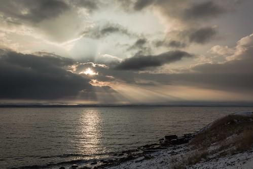 winter sea sky sun snow sunshine norway sunrise norge sunrays nationalgeographic finnmark porsanger sólstafir porsangerfjord sortvik einarschioth