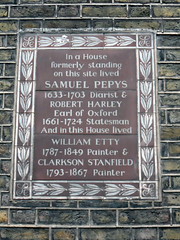 Photo of Samuel Pepys, Robert Harley, William Etty, and Clarkson Stanfield brown plaque