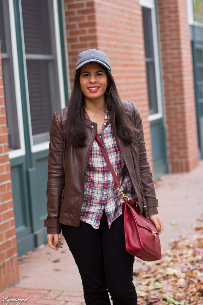 brown leather jacket, plaid shirt, wool cap-2.jpg