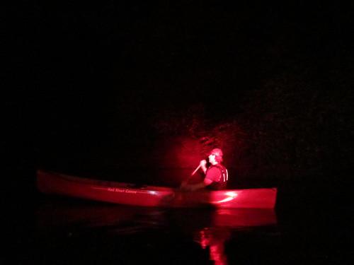 Paddling along Bayou Manchac at night