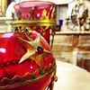 Beautiful old French cranberry glass incense holders / #cranberry #antique #religious #glass