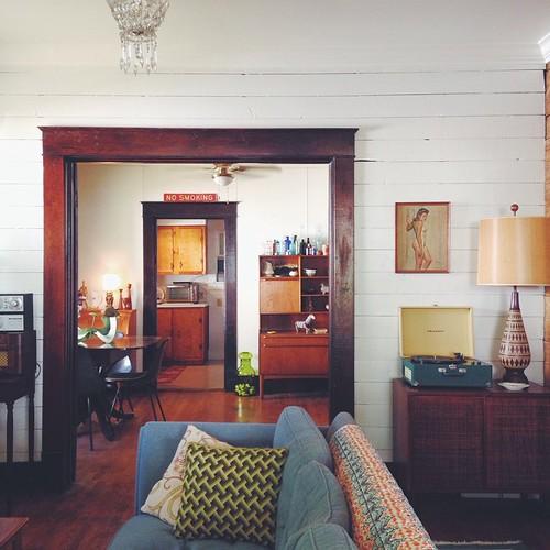 Living room. #design #diy #craftsmanbungalow #vintage #thrift #midcentury #retro #art #interior #interiordesign #recordplayer