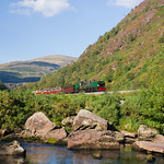 Beyer Garratt No.143 heads south from Beddgelert into the Aberglaslyn Pass with the afternoon service from Caernarfon to Porthmadog