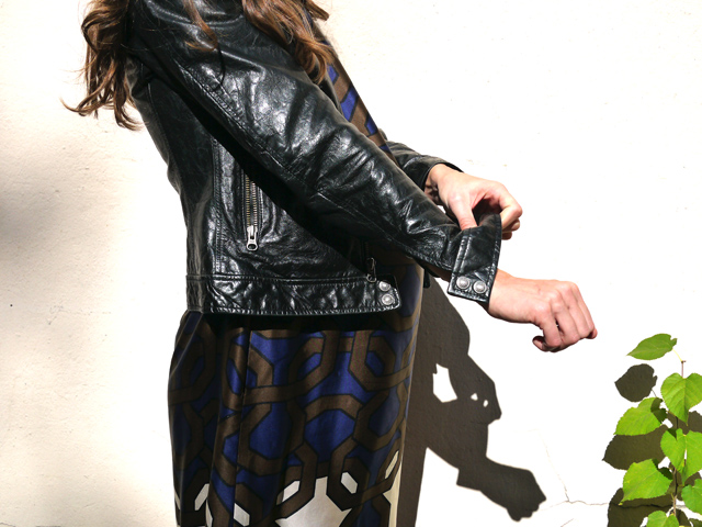 2 black leather jacket and dress maternity style ethical fashion