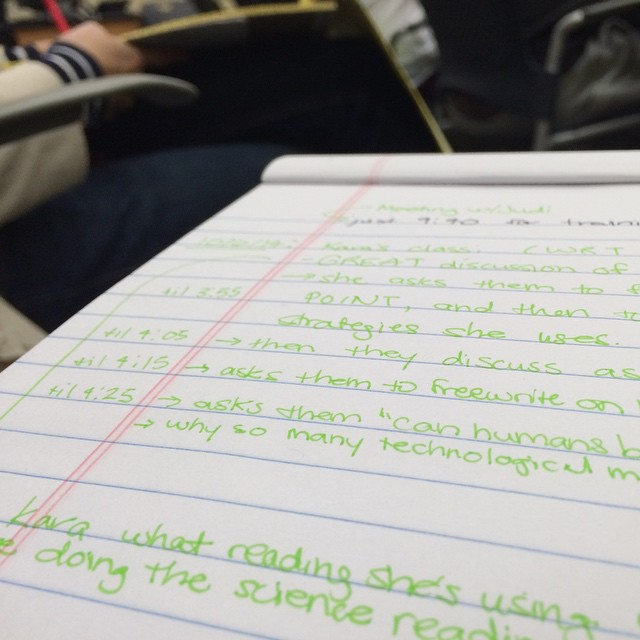 Making notes during a classroom observation. #teaching #work