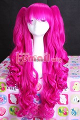 Long clip on ponytails wig Pink