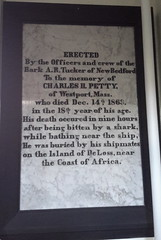 Centotaph on the wall of Seamen's Bethel