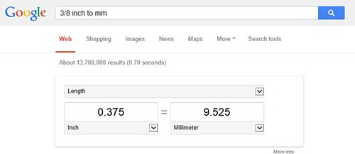 Math - Converting Inches to Millimeters (Thanks Google)