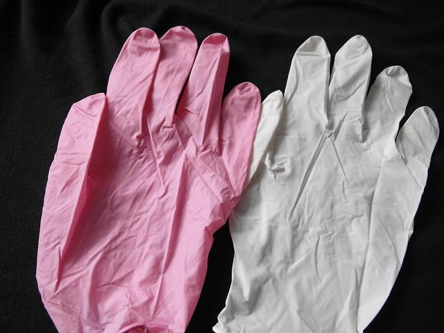 乳白色與桃粉色的手套@曜鴻NBR優質家事手套