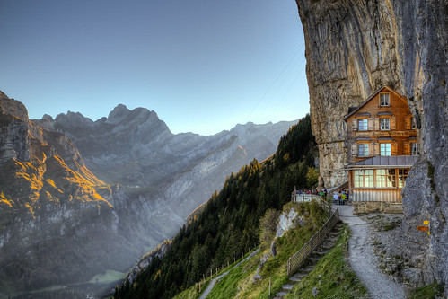 house mountain mountains alps nature berg wall architecture barn landscape restaurant schweiz switzerland pub rocks hiking berge climbing shelter exclusive hdr breathtaking impressive steep gasthaus appenzell gebirge berghütte wasserauen gasthof ebenalp schnitzler myswitzerland aescher wildkirchli appenzellinnerrhoden