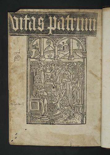 Title and woodcut illustration in Hieronymus: Vitae sanctorum patrum, sive Vitas patrum [English]
