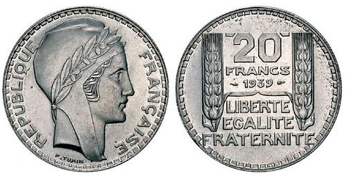 No. 472 FRANCE. Third Republic, 1870-1940. 20 francs