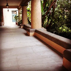 On the veranda, the Friends had the concrete repoured and the lights replaced sans vaseline glass shades... Both projects are approach completion stage.